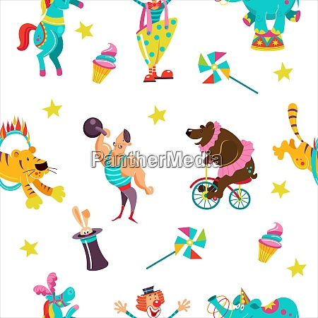 vector seamless pattern with circus performers