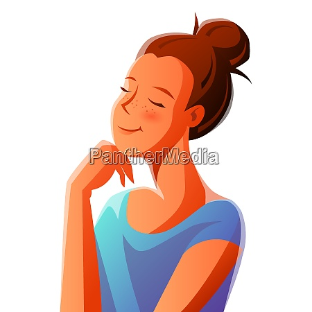 cute girl dreaming illustration of young