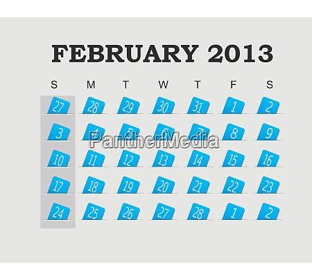 vector calendar 2013 blue february vector