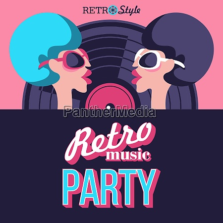 retro disco party vector illustration retro