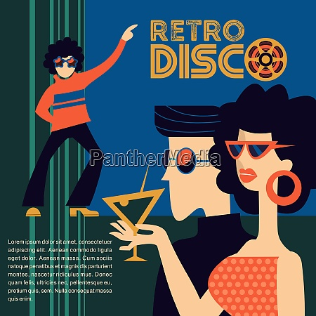 retro disco party vector illustration retro