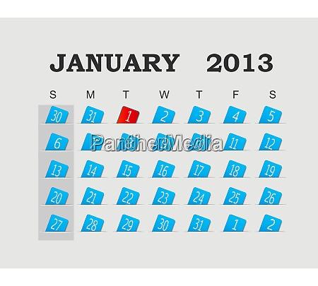 vector calendar 2013 blue january vector