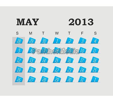 vector calendar 2013 blue may vector