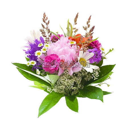 colorful flowers bouquet isolated on white