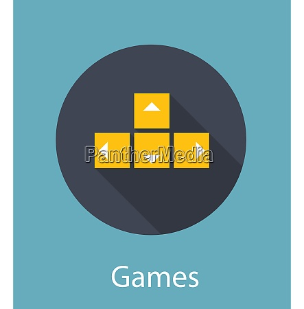 games flat concept icon vector illustration