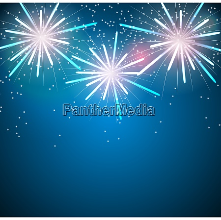 glossy fireworks on blue background vector