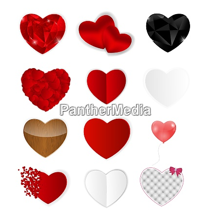 set of hearts isolated vector illustration