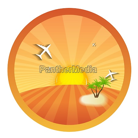 travel round icons with the landscape