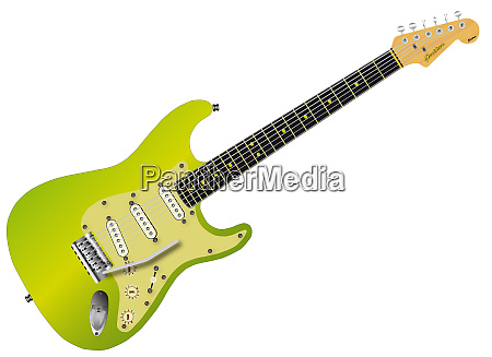 green electric guitar