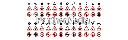 set of prohibition signs vector illustration