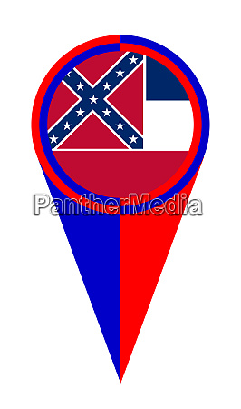 mississippi map pointer location flag