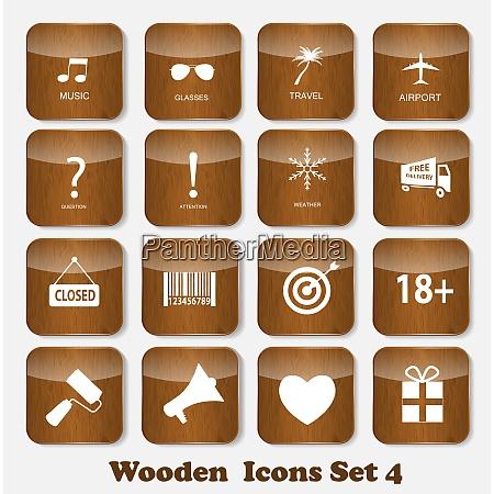 wooden, application, icons, set, vector, illustration. - 26326840