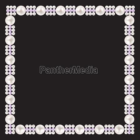 vintage pearl frame background vector illustration