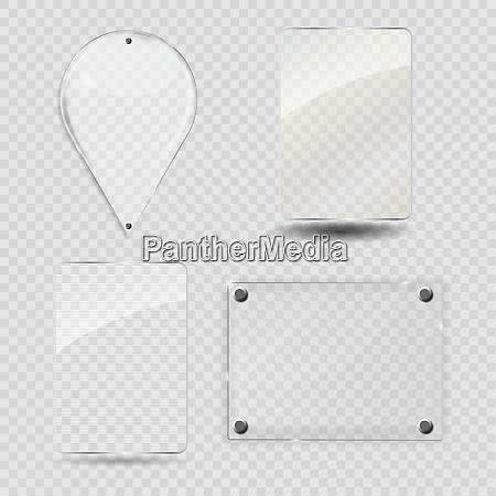 set of glass frame vector illustration