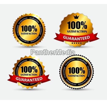 gold label set satisfaction vector illustration