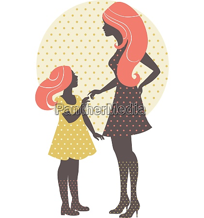 beautiful mother silhouette with her daughter