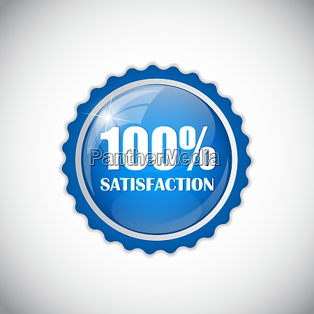 satisfaction blue label isolated vector illustration