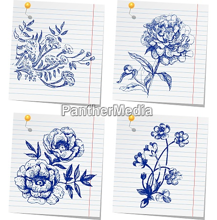 hand drawn doodle flower set in