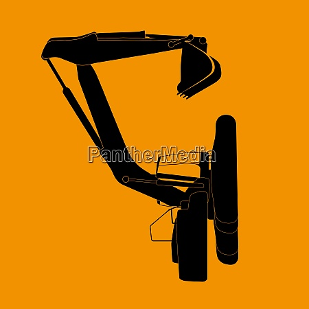 excavator work isolated on orange background