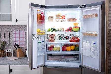 close up of an open refrigerator