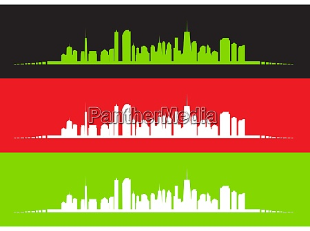 set of vector illustration of cities