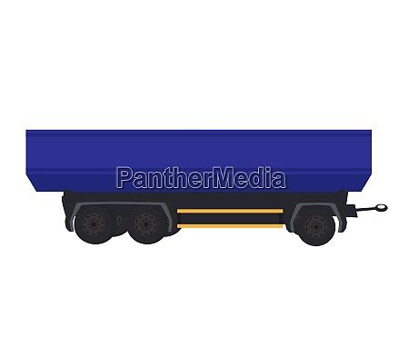 blue large car trailer vector illustration