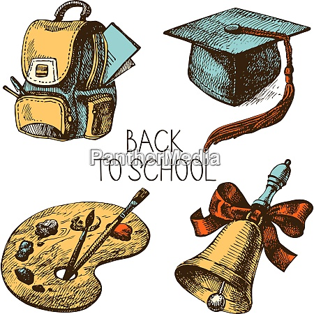 hand drawn vector school object set