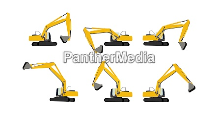 set of excavator work vector illustration
