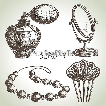 beauty sketch icon set vintage hand
