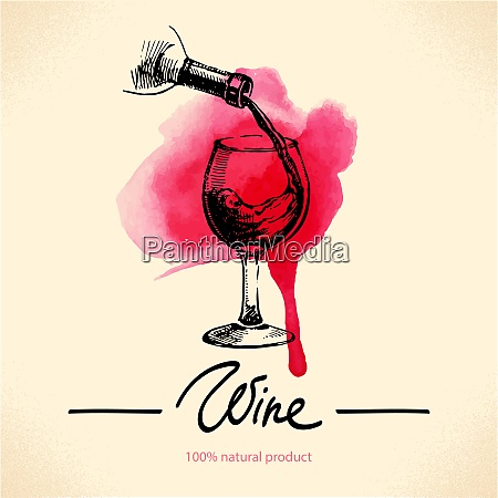 wine vintage background watercolor hand drawn