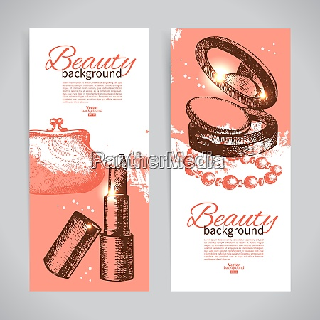 set of beauty sketch banners vintage