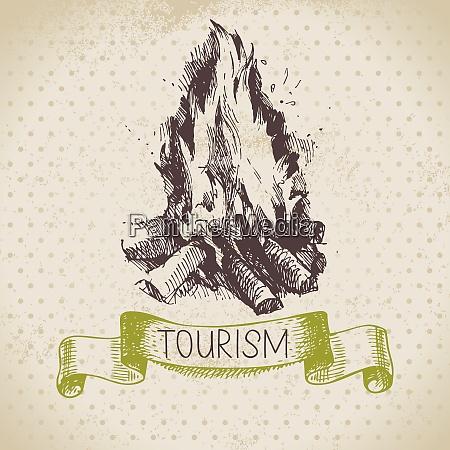 vintage sketch tourism background hike and