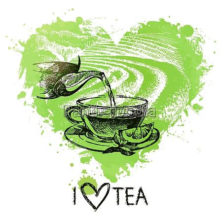 tea background with splash watercolor heart