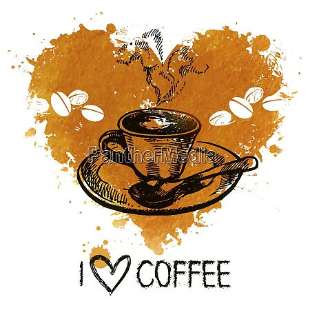 hand drawn vintage coffee background with