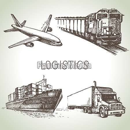 hand drawn logistics and delivery sketch