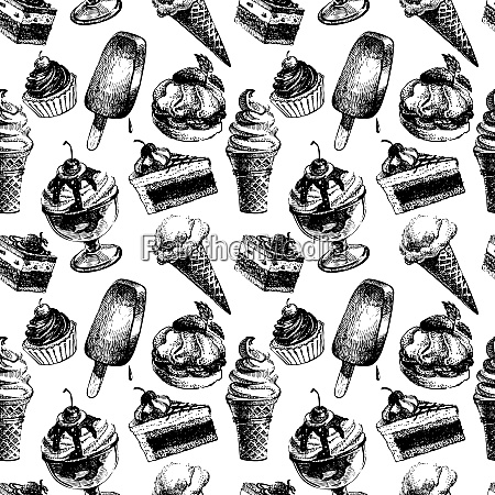 seamless pattern with ice cream and