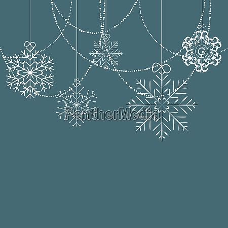 christmas snowflakes blue background vector illustration