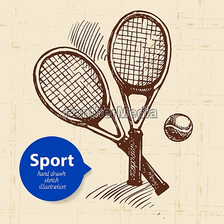 hand drawn sport object sketch tennis