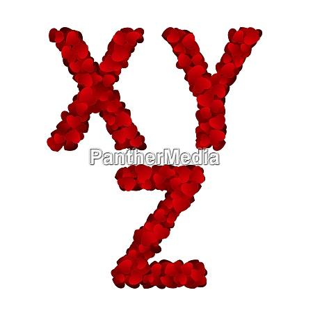 valentine day alphabet of hearts vector