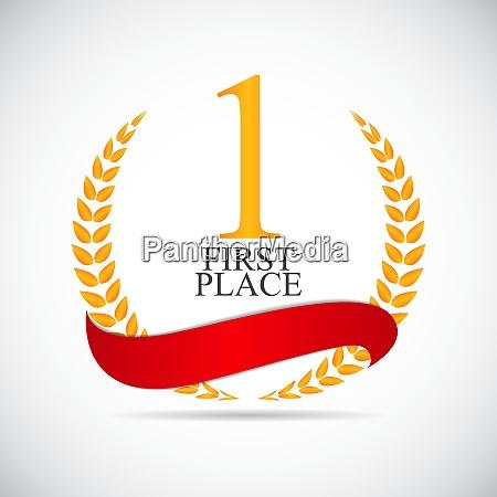 first place laurel design label vector