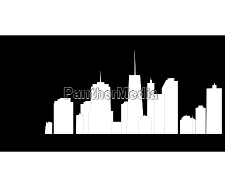 black vector illustration of cities silhouette