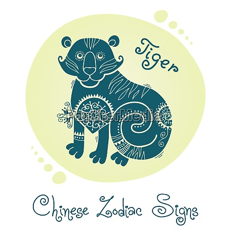 tiger chinese zodiac sign silhouette with