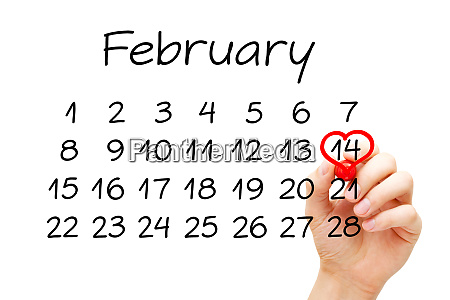 valentines day february 14 calendar concept