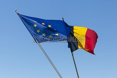 european flag with belgium flag