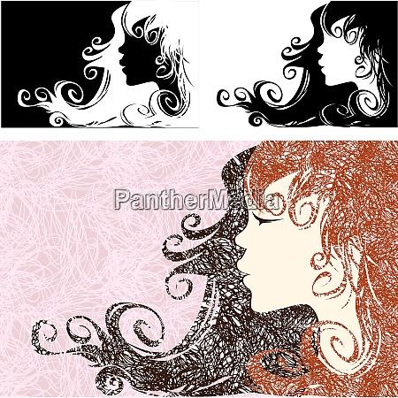 girl profile with beautiful long hair