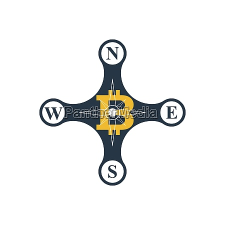 compass rose with bitcoin