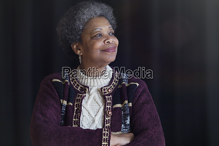 portrait confident satisfied senior woman looking