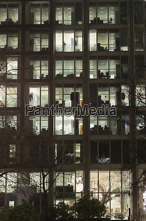urban highrise building at night
