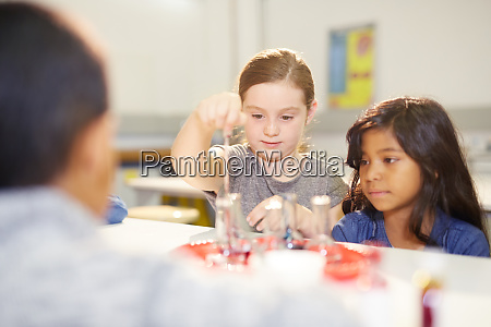 curious girls at interactive exhibit in