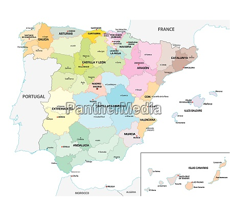 colored administrative and political vector map